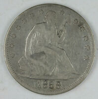 CLEANED 1858  SEATED LIBERTY HALF DOLLAR
