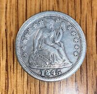 1845 LIBERTY SEATED SILVER DIME  XF.