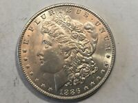 1886-P MORGAN SILVER DOLLAR DATE UNC FROM ALBUM COLLECTION MS CONDITION M14