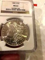 1889-O MORGAN DOLLAR, NGC MINT STATE 63 WHITE COIN, TOUGH COIN TO GET THIS