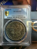 1895-S MORGAN PCGS F12 KEY DATE GOLD SHIELD GRADED LOW MINT-400,000 SILVER COIN