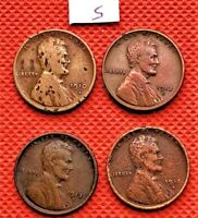 4 KEY DATE WHEAT CENTS COINS PENNY 1910-S, 1912-S, 1913-S, 1915-S 5