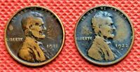 1911-S, AND 1922-D KEY DATE WHEAT CENTS COINS PENNY 1
