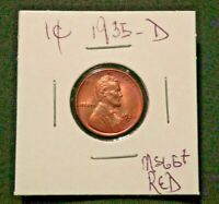 STUNNING 1935 D LINCOLN HEAD PENNY CENT MS BU UNC  PLUS RED BUY NOW OFFER
