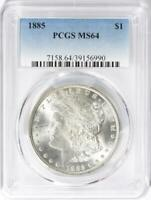 1885 MORGAN SILVER DOLLAR - PCGS MINT STATE 64 - MINT STATE 64 - CERTIFIED MORGAN $1