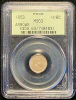 1853 SEATED LIBERTY HALF DIME H10C PCGS MINT STATE 63 ARROWS OGH OLD GREEN HOLDER