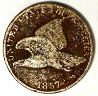 1857 1C FLYING EAGLE CENT 18RCT2703 50 CENTS SHIPPING