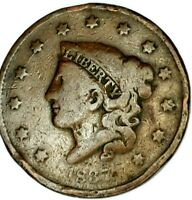1837-P 1C CORONET LIBERTY HEAD LARGE CENT 20CTH0523 50 CENTS SHIPPING