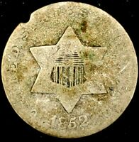 1852-P 3C THREE CENT SILVER PIECE 75 SILVER 20WCT0523 50 CENTS SHIPPING