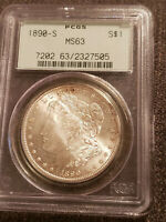1890-S MORGAN SILVER DOLLAR COIN PCGS GRADED MINT STATE 63