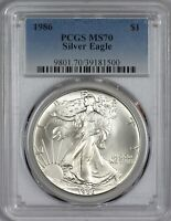 1986 AMERICAN SILVER EAGLE PCGS MS70 - FIRST YEAR OF ISSUE -  IN MS70
