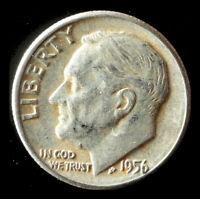 1956-P ROOSEVELT 90 SILVER DIME SHIPS FREE. BUY 5 FOR $2 OFF