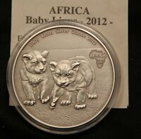 2012 BABY LIONS CONGO 1 OZ .9999 FINE SILVER. ANTIQUE FINISH. WITH COA & CAPSULE