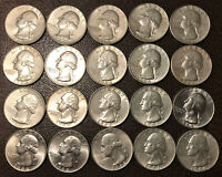 LOT OF 20 SILVER WASHINGTON QUARTERS  10  1964  10  1964 D N