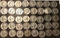 LOT OF 40 WASHINGTON SILVER QUARTERS 90 . RARE EARLY YEARS D