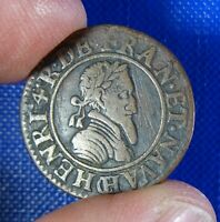 FRANCE HENRI 4 / IV DOUBLE TOURNOIS 1591 CHALONS SUR MARNE 2ND TYPE.