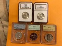 FRANKLIN HALF DOLLAR COLLECTION 5X PCGS MS  PROOFS 1954S 195