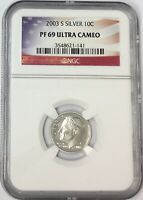 2003-S 10C ROOSEVELT SILVER DIME NGC PF69 ULTRA CAMEO