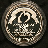 1914 1989 75TH ANNIVERSARY FORT MCMURRAY .999 FINE SILVER PROOF TRADE DOLLAR