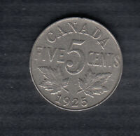 1925 CANADA 5 CENTS COIN