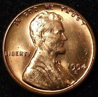 1954-S 1C LINCOLN WHEAT CENT RED UNC 17LT1507-4 50 CENTS SHIPPING
