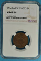 1864 LARGE MOTTO TWO CENT NGC MINT STATE 63BN- SOME RED, SHARP, PQ FOR THE GRADE