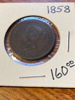 1858 CANADA LARGE CENT  DATE