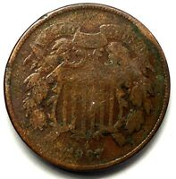 1867-P 2C COPPER TWO CENT PIECE 17AWH1312 50 CENTS SHIPPING