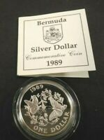 1989 BERMUDA ONE $1 DOLLAR SILVER STERLING PROOF MONARCH BUT