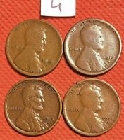 1910-S, 1912-S, 1913-S, 1915-S WHEAT CENTS, PENNY, KEY DATE COINS 4