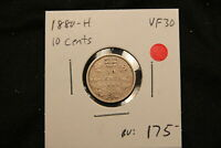 1880 H CANADA SILVER 10 CENTS. VF 30. BV $175