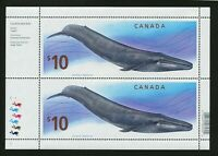 CANADA $10 X 2 BLUE WHALE STAMPS MINT CORNER BLOCK FROM 2010 COIN & STAMP SET.