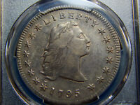 1795 $1 FLOWING HAIR DOLLAR 3 LEAVES AU PCGS, GREAT LOOK