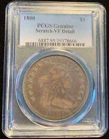 1800 DRAPED BUST SILVER DOLLAR $1 PCGS VF DETAILS SUPER ORIGINAL SURFACES