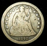 1842 O SEATED LIBERTY DIME - VG