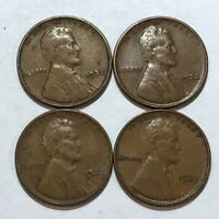 FOUR 1932 LINCOLN WHEAT CENTS. FINE, VF, VF & EXTRA FINE .  Q1