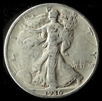 1936-D WALKING LIBERTY 90 SILVER HALF SHIPS FREE. BUY 5 FOR $2 OFF
