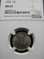 1902 5C LIBERTY NICKEL NGC MINT STATE 63  LIGHT PASTEL ORIGINAL TONING REALLY A 64