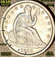 1838 LIBERTY SEATED SILVER DIME F-101A SMALL STARS, DOUBLED DIE REVERSE - LDS