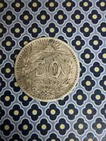 1906 MEXICO 50 CENTAVOS DEFECTIVE PLANCHET OBVERSE ERROR