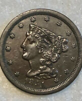 1851 BRAIDED HAIR HALF CENT   HIGH GRADE   NICE EVEN COLOR
