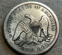1859 LIBERTY SEATED SILVER DOLLAR VG FINE