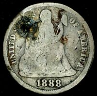 1888-S 10C SEATED LIBERTY DIME 90 SILVER 20OAT0404 50 CENTS SHIPPING
