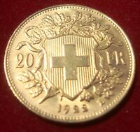 1922 SWISS GOLD 20 FRANCS UNCIRCULATED CONDITION