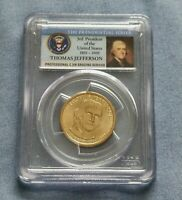 2007-P THOMAS JEFFERSON DOLLAR COIN, PCGS MINT STATE 66, FIRST DAY OF ISSUE, POS. A
