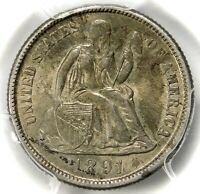 PCGS MINT STATE 63 1891 S SEATED DIME