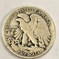 TWO 1917-S REV MM WALKING LIBERTY SILVER HALF DOLLARS. FINE & G-VG.  UM1