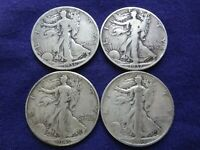 LOT 4 WALKING LIBERTY SILVER HALF DOLLAR 90 BULLION US COIN 1937 1936 1939 1941