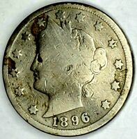 1896-P 5C LIBERTY HEAD NICKEL 19HS0825 50 CENTS SHIPPING