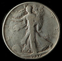 1937-D WALKING LIBERTY 90 SILVER HALF SHIPS FREE. BUY 5 FOR $2 OFF